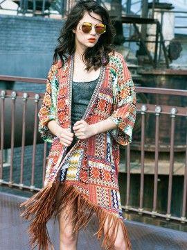 Shop Multi Tribe Pattern Tassel Asymmetric Hem Longline Kimono from choies.com .Free shipping Worldwide.$19.79