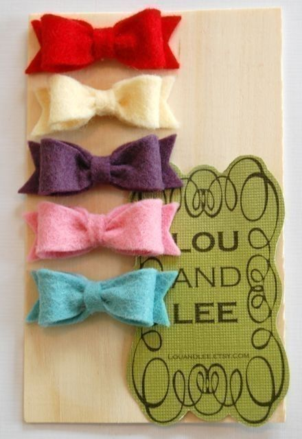 Baby bows. Itty bitty felt collection by louandlee on Etsy, $19.00: Felt Hairbows, Newborn Hair Bow, Newborn Bow, Bow Clip, Diy Gift, Felt Hair Bows, Baby Girl, Shower Gift