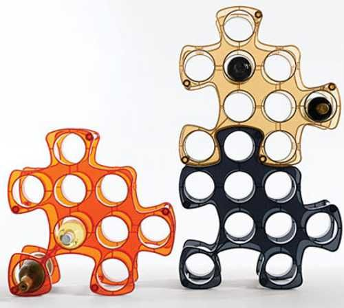 puzzle wine racks in various colors