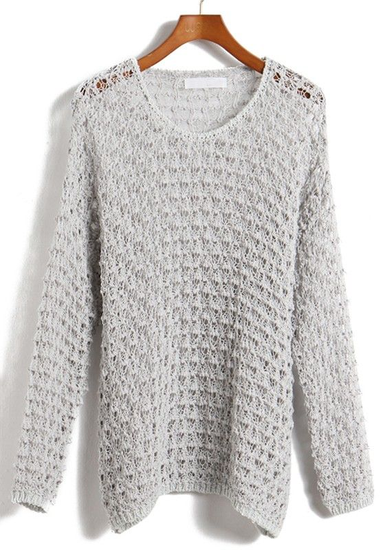 Grey Hollow-out Round Neck Loose Acrylic Sweater