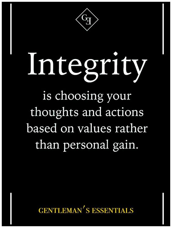 Integrity is choosing your thoughts and actions based on values rather than personal gain. #BusinessOwnerMindset https://www.facebook.com/HollowayJamesA/: