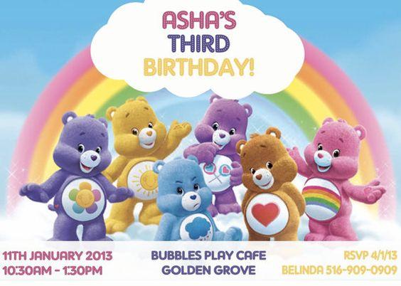 Care Bear Birthday Invitation  by Asapinvites on Etsy, $12.00