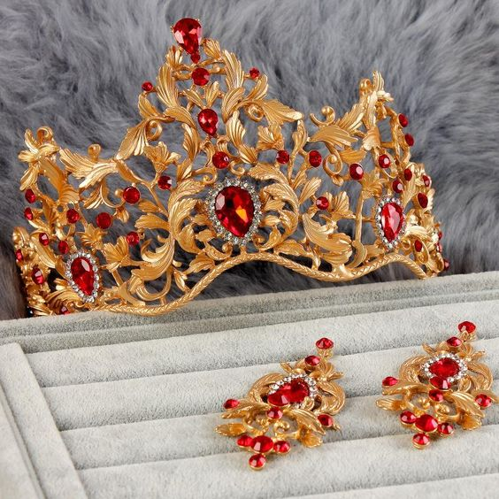 Vintage-regina-ben-arredate-barocco-gioielli-da-sposa-tiara-corona-orecchini-da-sposa-vestito-dalla-garza