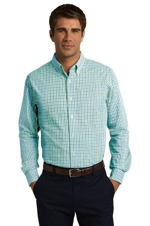 Great Buttondown!!!  Cute colors A fresh alternative to a solid-color shirt, our gingham check pattern is office-ready. Crafted in an Easy Care blend, this poplin style resists wrinkles and features bias-cut details inside the collar stand and under the cuffs.