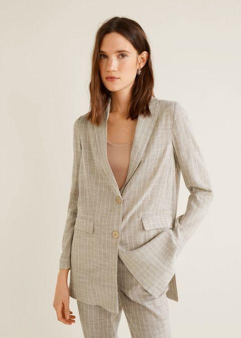 Cizgili Blazer Ceket Kadin Mango Turkiye Blazers For Women Blazer Simple Outfits