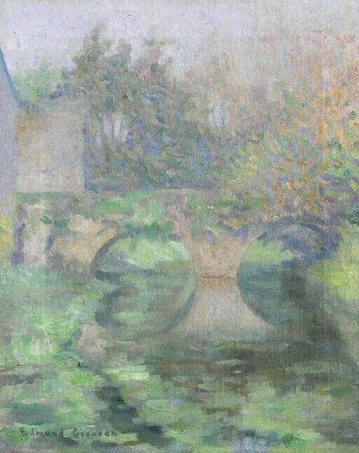"""Title Bridge at Giverny,"" Edmund William Greacen, oil on canvas, 16 x 13 1/4"", George Stern Fine Arts."