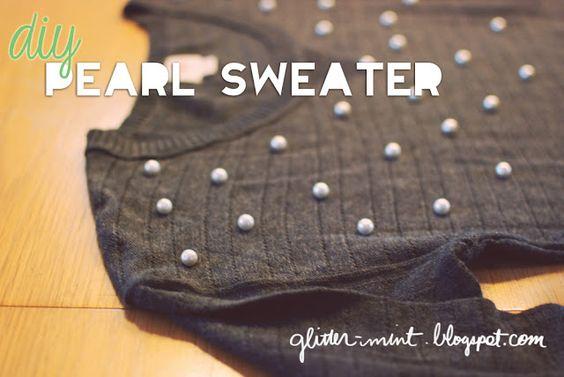 Glitter Mint: DIY Pearl Sweater