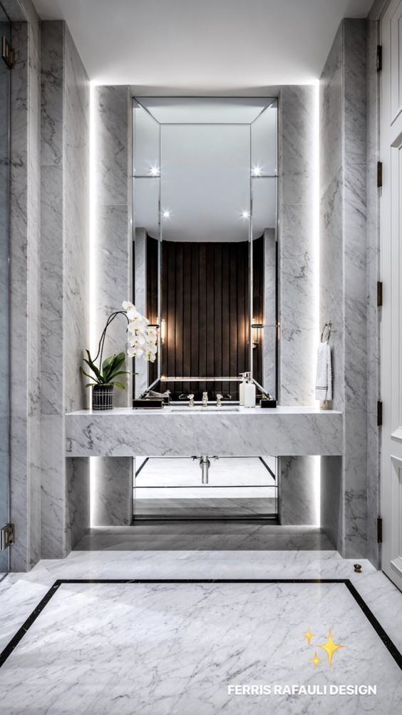 Interiordesign Iteriors Homedecor Interiordesignideas Bathroomdecor Bathroomdesign Luxuyb Minimalist Bathroom Design Luxury Powder Room Elegant Bathroom
