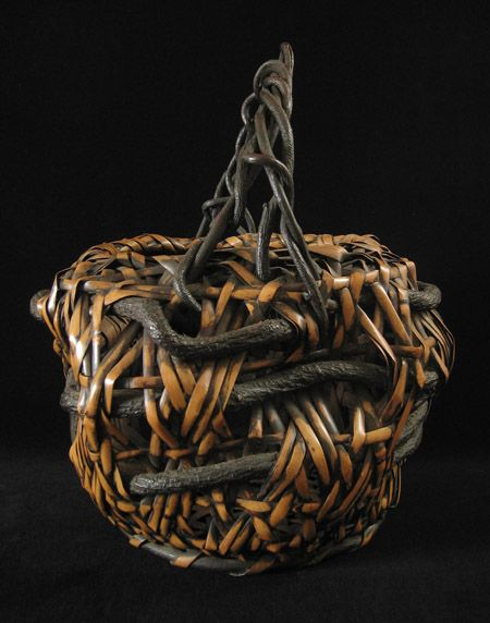 Antique Ikebana basket, Japan - left side view