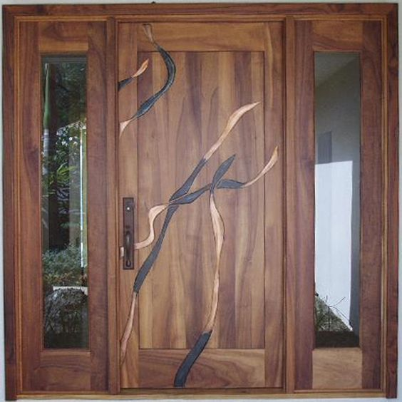Beautiful koa wood custom door with metal inlay work in for Custom made wood doors