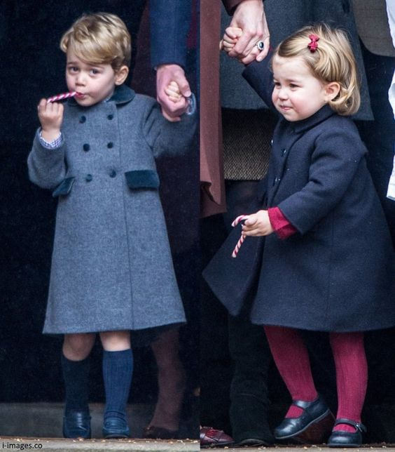 Prince George and Princess Charlotte. Christmas Day 2016.