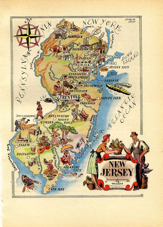 New Jersey Illustrated Map 1946 Vintage Map United States USA – Map Usa New Jersey