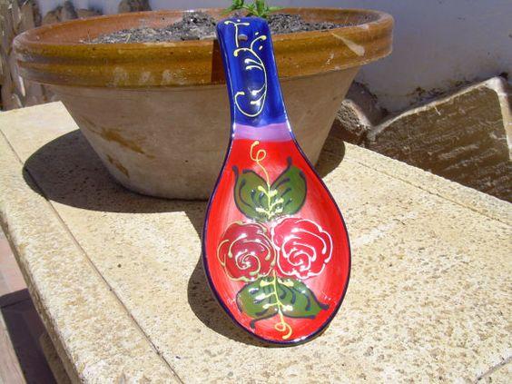 Talavera Pottery, Tapas, Ceramic Spoon Rest, POTTERY , Rustic Spanish Pottery…