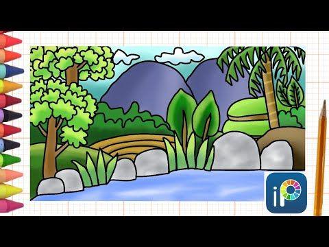 Menggambar Dan Mewarnai Pemandangan Digital Di Aplikasi Hp