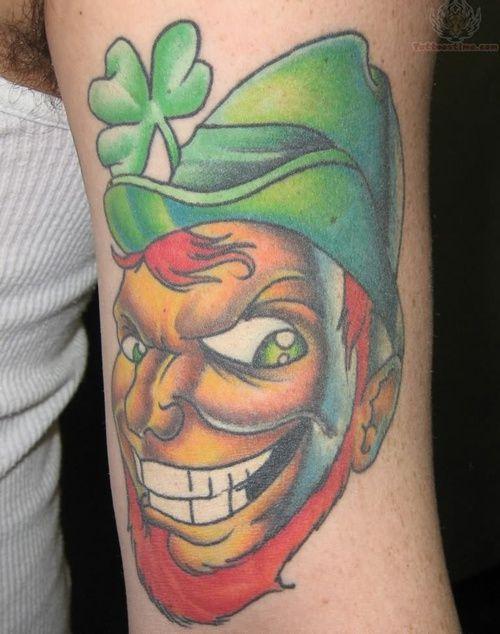 new school leprechaun tattoo on arm irish irishtattoo talesofthetatt www. Black Bedroom Furniture Sets. Home Design Ideas