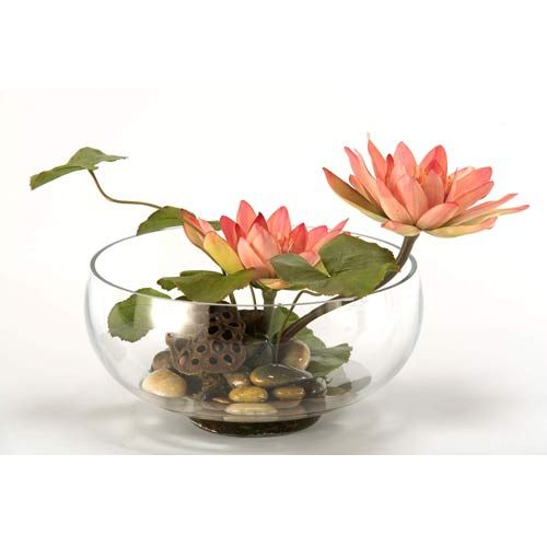 Water Lilies Glass Bowls And Faux Flowers On Pinterest
