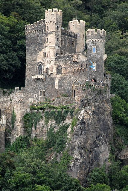 Rhine Valley, Germany Castle on rocks by Vesuvianite …: