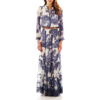 MNG by Mango® Long-Sleeve Belted Peasant Maxi Dress @ JCPenny on ...