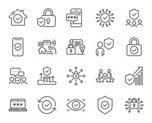 Security Line Icons Cyber Lock Password Unlock Guard Shield Home Security System Icons Eye Access Elec Home Security Systems Dot And Bo Security System