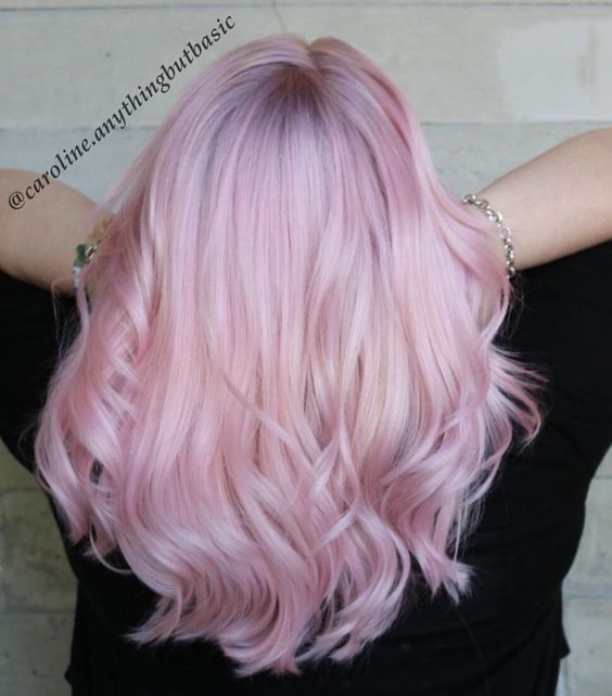 Love is in the hair! Pastel pink hair color with shadow ...