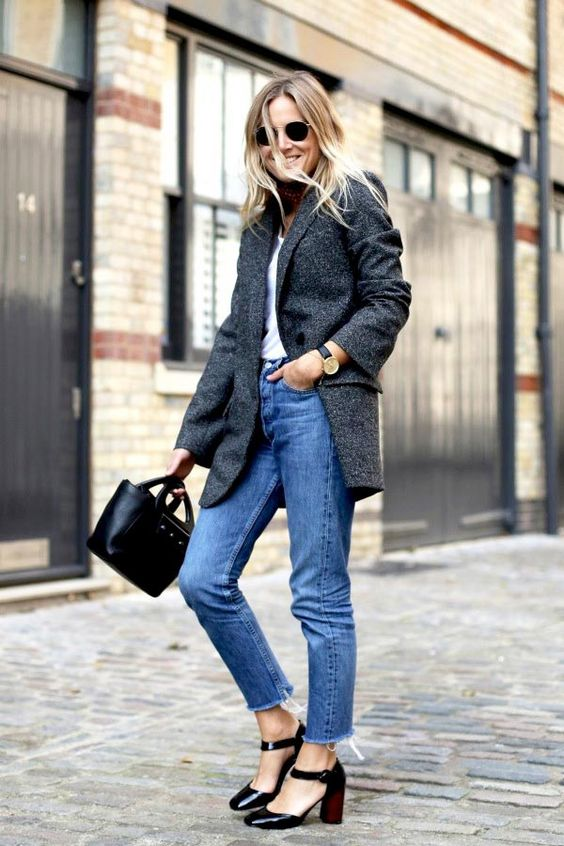 Bloglovin Blog Parisian Inspired Style Round Sunglasses Neck Scarf Slouchy Grey Blazer Round Watch Mini Tote Cropped Raw Hem Jeans Ankle Strap Heels Via Lucy Williams Fashion Me Now