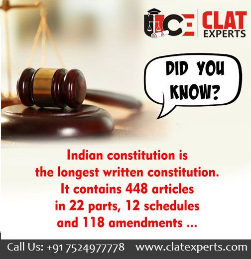 Law Fact Of The Day Clat Experts Written Constitution Career Counseling Law Courses
