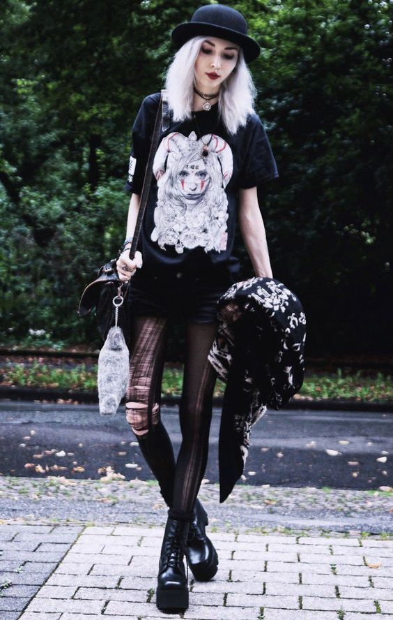 """Hitsuji"" Premium Tee, Chunky Cardigan, Ripped Tights, Tunisian Leatherbag , Chunky Platform Boots - http://ninjacosmico.com/29-grunge-outfit-ideas-fall/"