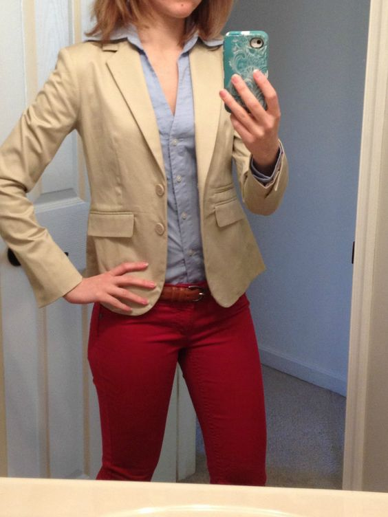 Khaki blazer + blue oxford + red pants