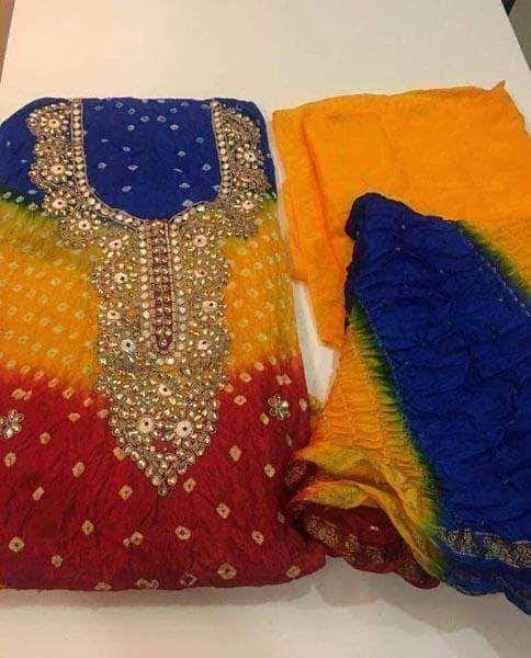 Art Silk Bandhej Suit with Gotta Patti and Kundan Work
