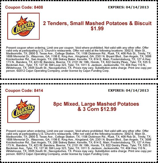 Couple tenders, mashed potatoes \ biscuit for $2 bucks \ more at - coupon disclaimer examples