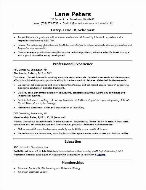 Entry Level Chemist Resume Inspirational Entry Level Biochemist Resume Sample Job Resume Samples Good Resume Examples Resume Objective Examples