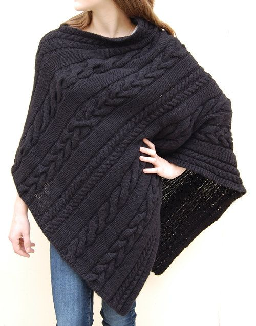 Easy Cape Knitting Pattern : Dianne Cabled Poncho Pattern Cable, Zara et Avon