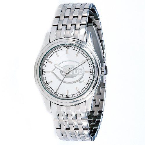 MLB Men's MR-CIN President Series Cincinnati Reds Watch Game Time. $129.95. Water resistant to 5 ATM (165 ft). Solid stainless steel adjustable bracelet. Miyota® quartz movement. Officially licensed team logo laser etched in Platinum. Sapphire crystal lens w/low profile stainless steel case and back