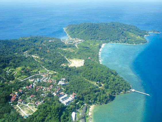 Aerial view of south Patong at the cape looking west.