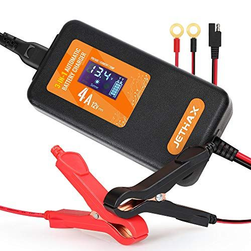 Jethax 12v 4a Smart Car Battery Charger Fully Automatic 3 In 1 Portable Battery Maintainer And Trickle Charger For Car Motorcycle Lawn Mower Scooter Suv A In 2020 Car Battery Charger Smart Car