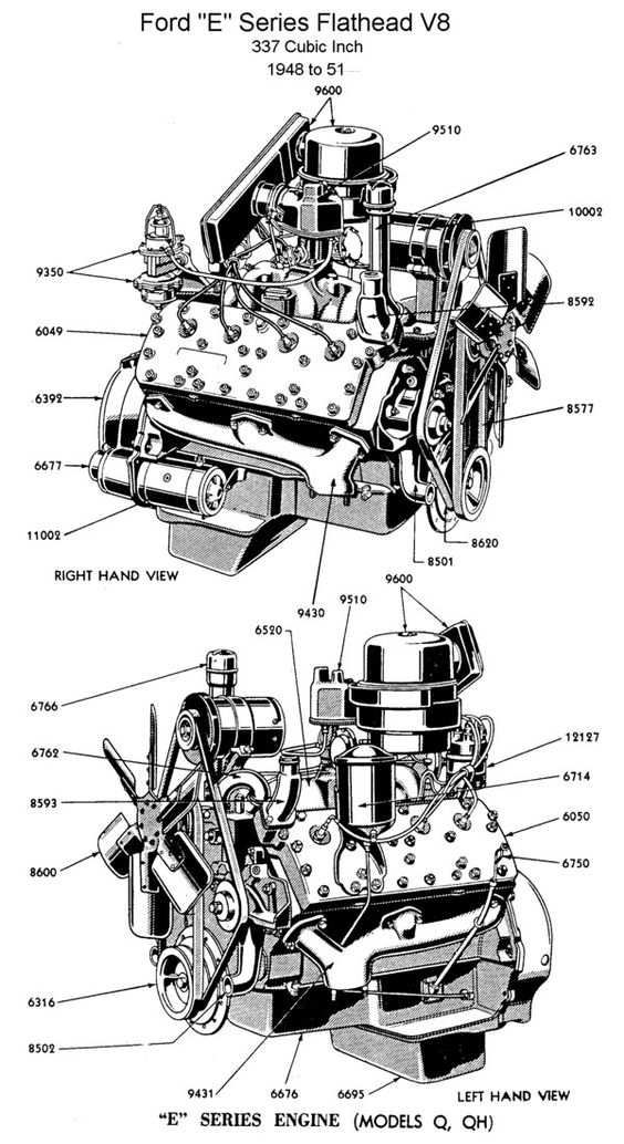 Ford E Series Flathead V 8 337 Cubic Inch Engine 1948