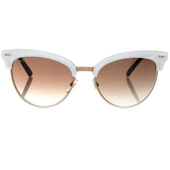 Gucci Cat-eye half-frame sunglasses found on Polyvore featuring accessories, eyewear, sunglasses, glasses, sunnies, cream multi, vintage cat eye sunglasses, retro sunglasses, vintage sunglasses and retro cat eye sunglasses