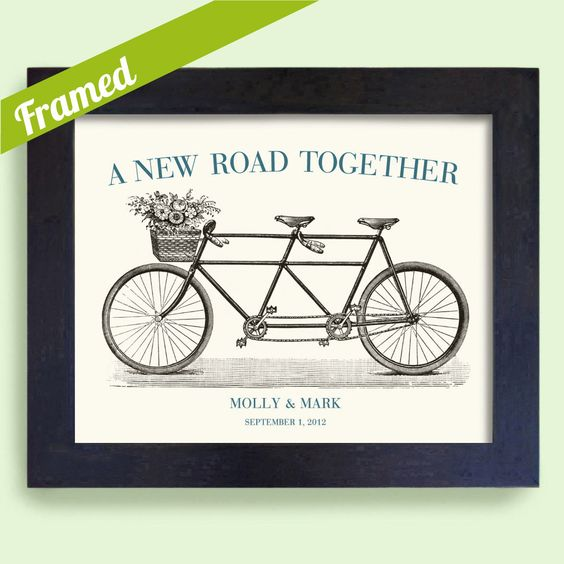 Custom Framed Wedding Gift for Couples Martha Stewart Bicycle for Two Bridal Shower. $38,00, via Etsy.