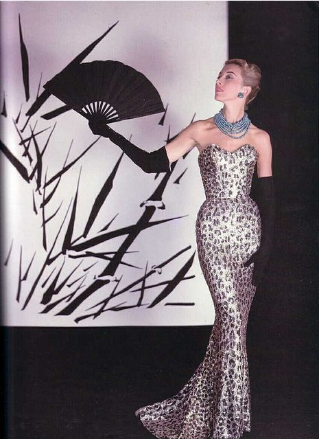 Balmain's endlessly glamorous silver and black leopard print evening dress, 1950s. #vintage #1950s #fashion