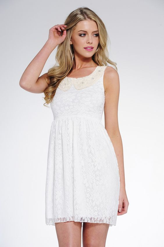 Bell Cream Collared Lace Dress £22