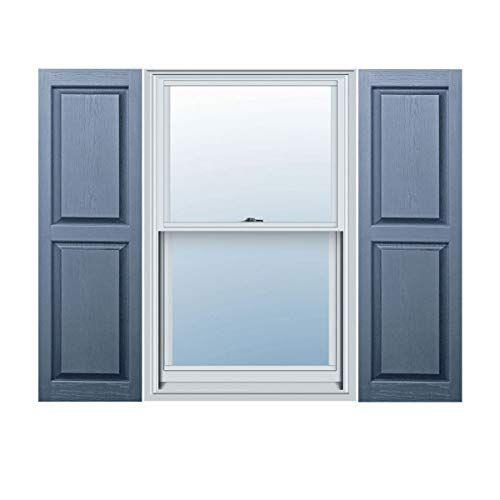 12 X 47 Builders Choice Vinyl Raised Panel Window Shutters W Shutter Spikes Screws Per Pair Blue Home Decor First Raised Panel Shutters Builders Edge Window Shutters