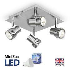 Modern Brushed Chrome Square 4 Way LED GU10 Ceiling Spotlight Spot Light  Fitting