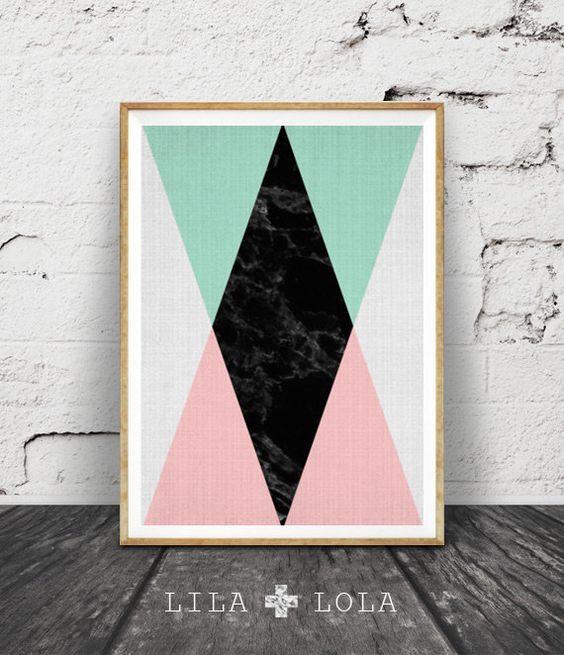 Geometric Print, Printable Wall Art, Pink Black Mint Green Decor, Scandinavian, Modern Midcentury, Instant Download, Black Marble, Triangle