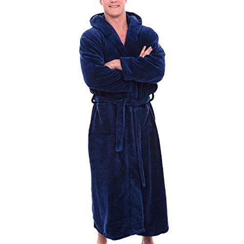 Xmiral Peignoir Homme Pyjama Bleu Manches Longues Grand Taille Xl Bleu Robe Kimono Peignoir Homme Peignoir