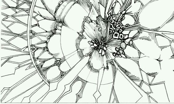 """The Spider's Webs are Blocking my Way"" Ink drawing by Valeria Castellanos"
