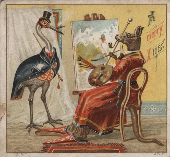 An example of one of the first Australian Christmas cards, collected by Bessie Rouse (via Sydney Living Museums):