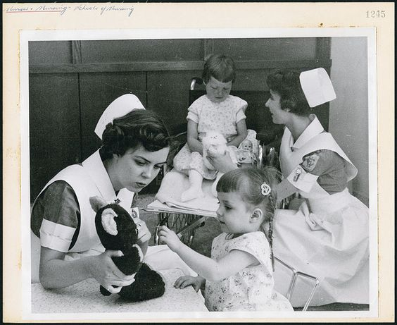 Two student nurses amusing young patients at the Children's Hospital school of nursing in Winnipeg / Deux infirmières étudiantes amusant de jeunes patients à l'école d'infirmières du Children's Hospital à Winnipeg | Flickr - Photo Sharing!