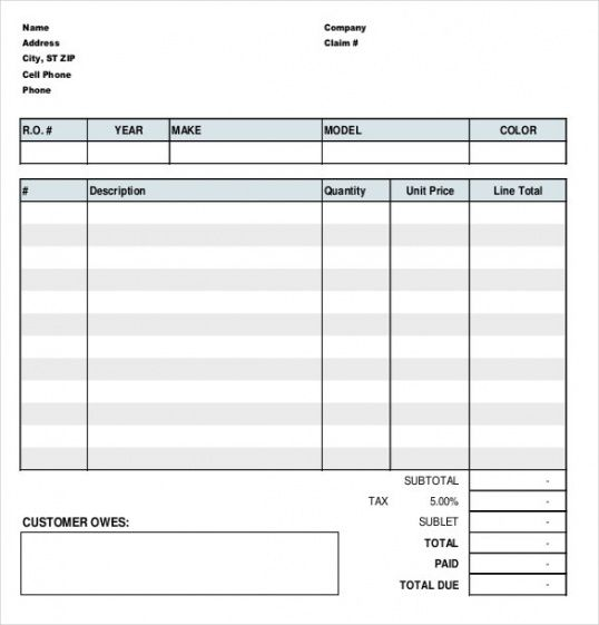 Get Our Example Of Tire Shop Invoice Template Invoice Template Automotive Repair Invoice Template Word
