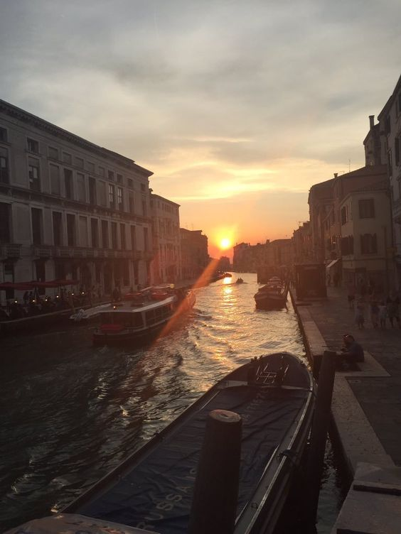 Beautiful sunrise and places in Venice, Italy