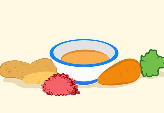 Papinha mandioquinha, cenoura e carne moída  Ingredientes  - 2 colheres (sopa) de carne moída  - 1 colher (chá) de cebola ralada  - ...